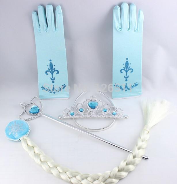 4Pcs/set Crown Elsa Anna Crown Cosplay Tiara Hair Accessories set Crown + Wig +Magic Wand +glove girls hair accessories(China (Mainland))