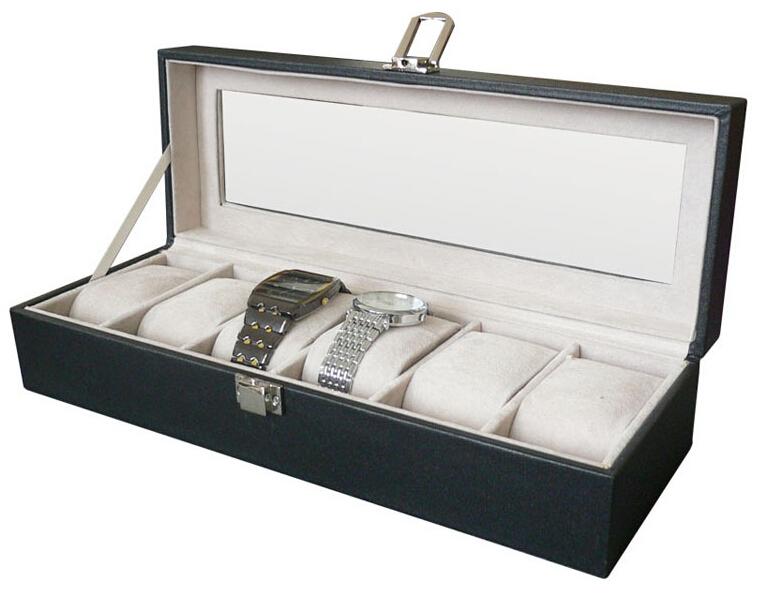 6 Grid PU Leather Watch Display Drawer Lock Jewelry Collection Storage Holder Showcase Box