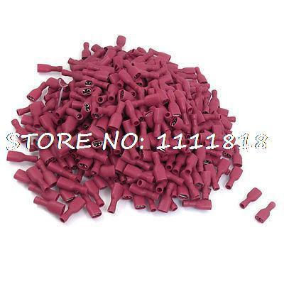 1000 x 10A 22-16 AWG Red PVC Sleeve Crimp Terminal Connector FDFD1.25-250(China (Mainland))