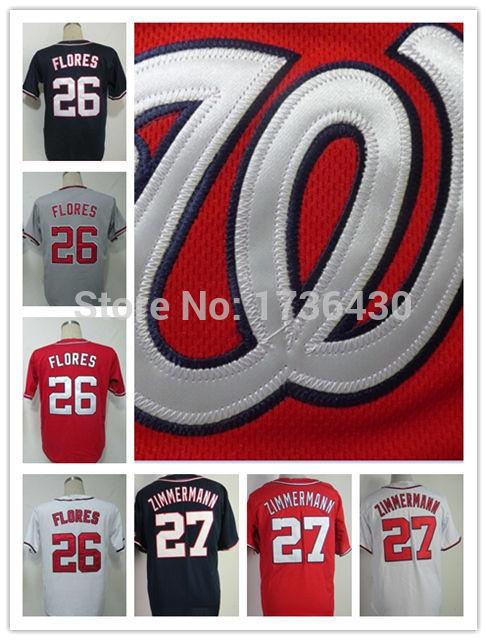 Cheap Washington Nationals #26 Jesus Flores #27 Jordan Zimmermann Jersey Baseball 100% Stitched Logos Cool Base Jersey(China (Mainland))