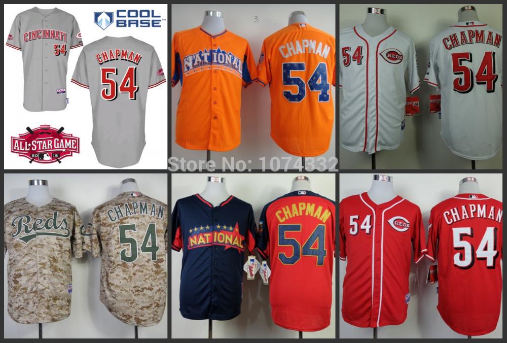 Cincinnati Reds jersey 54 Aroldis Chapman red gray white blue camouflage orange baseball Jerseys Embroidery logos stitched S-3XL(China (Mainland))