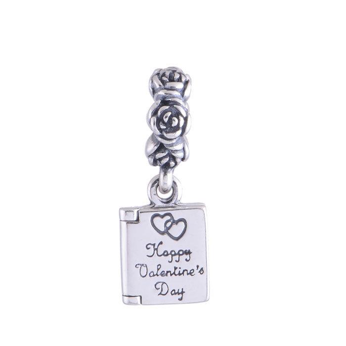 925 Sterling Silver Valentine's Day Card Dangle Charm Pendants Best Valentine Gift Fits European Bracelets FG LW363(China (Mainland))