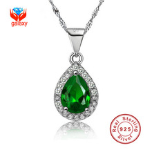 2015 New Trendy 100% 925 Silver Zircon Crystal Pendant Necklace Fashion Jewelry 925 Sterling Silver Charm Necklace For Women Y09