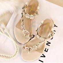 free shipping women sandal 2015 summer Bohemia style flat  sweet student  flower korea style shallow mouth size 32--42 78 sy(China (Mainland))