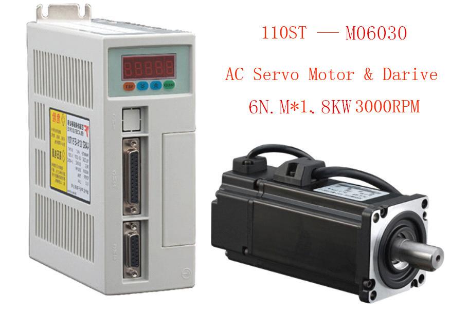 1 set New Servo system kit 6N.M 1.8KW 3000RPM 110ST AC Servo Motor 110ST-M06030 + Matched Servo Driver(China (Mainland))