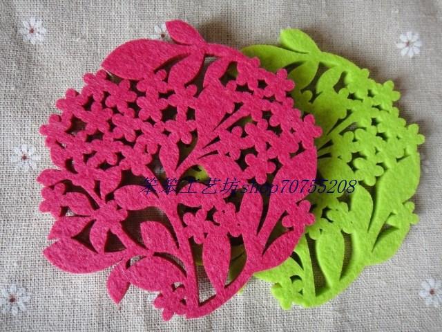 10cm European Home Furnishing Creative fashion flower non-woven felt coasters hot selling 3pcs/lot free shipping(China (Mainland))