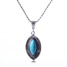 Fashion Antique Silver Necklace Ellipse Turquoise Pendants Necklace Vintage Jewlery For Women 2015 XL56281