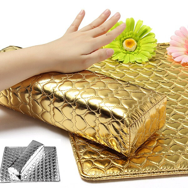 gold silver color fashion SOFT Hand Holder Cushion Pillow Nail Arm Rest for nail art manicure(China (Mainland))