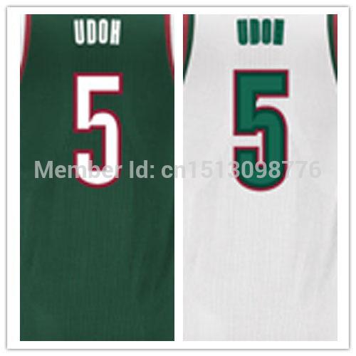 Free Shipping - Stitched Milwaukee Basketball Shirt #5 Ekpe Udoh Authentic Basquete 30 White Home Road jerseys(China (Mainland))