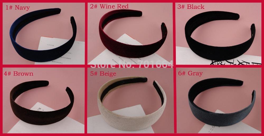 "12PCS 30mm 1.15"" Assorted Colors Velvet fabric Covered Plain Plastic Hair Headbands at free shipping,BARGAIN for BULK(China (Mainland))"