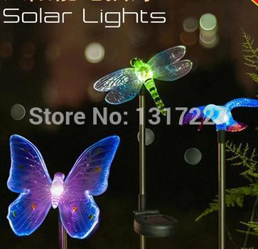 3PCS SOLAR POWER COLOR CHANGING GARDEN LIGHT SET DRAGONFLY BUTTERFLY HUMMINGBIRD Free Shipping(China (Mainland))