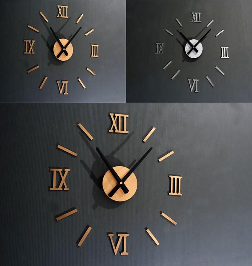 real mirror acrylic diy combination digital wall clock clocks watch 2015 new time-limited quartz living room free shipping(China (Mainland))