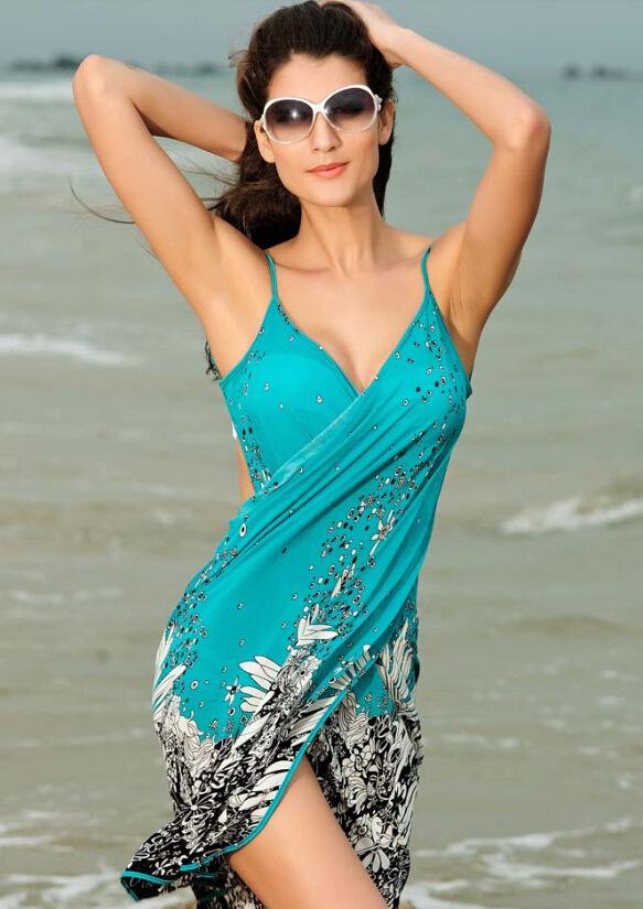 Swimsuit Cover Up Women Summer Beach Dress Beach Cover Up Bikini Wrap Negril Floral Print Crossed Beachwear Sarong Pareo(China (Mainland))