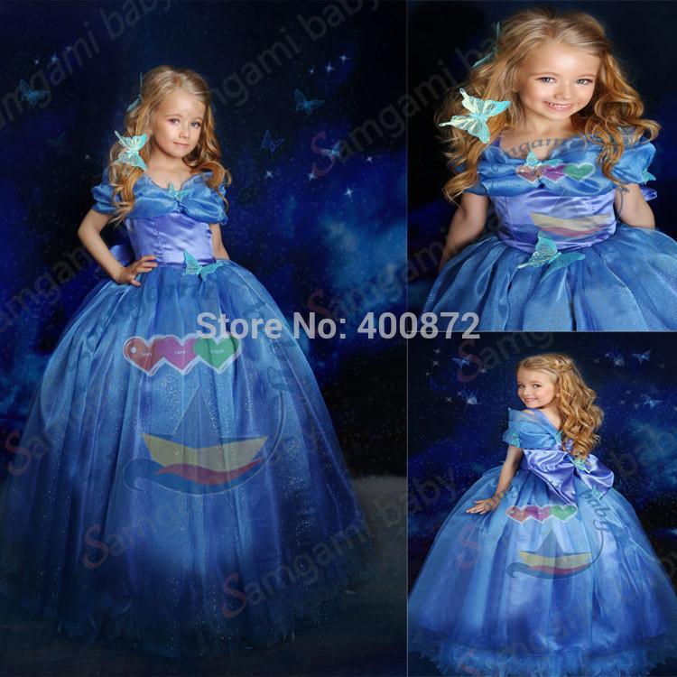 newest Fashion summer Cinderella princess girl's dress baby Cosplay Costume brand baby cotton Dress children party dress(China (Mainland))