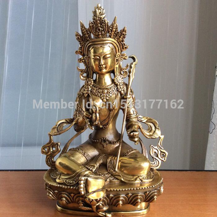 """8"""" Tibetan Buddhist bronze Merits and Wisdom Enhancing Tara Buddha statue Bronze Finish Buddha Healing Statue(China (Mainland))"""
