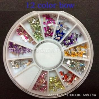 Одной коробке 12 цветов мода ногтей украшения супер яркая вспышка с бантом форма ...