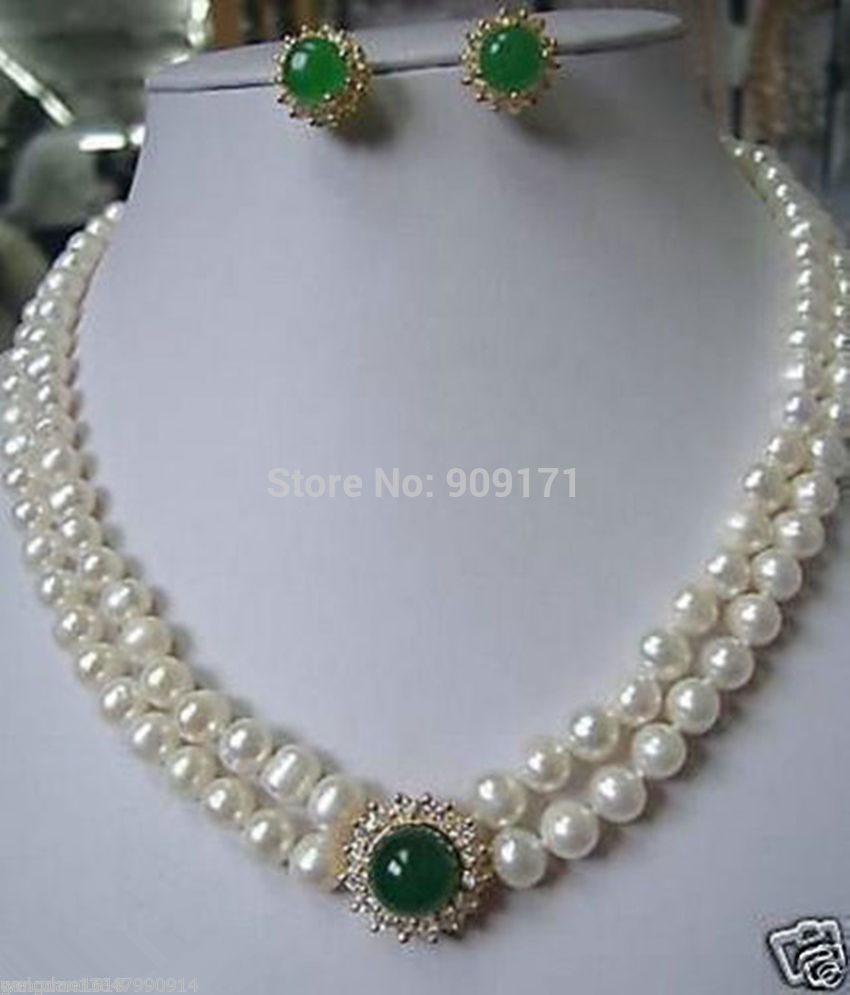 Free Shipping>>Noblest Genuine Pearl necklace green Jade earring set(China (Mainland))