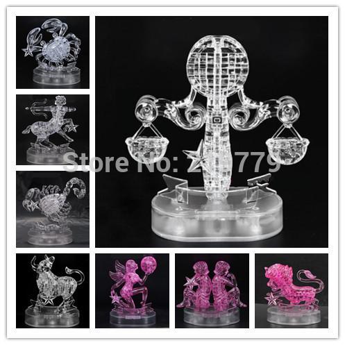 DIY 3D Jigsaw Crystal Puzzle 12 Zodiac Aquarius Libra Scorpio Virgo Gemini Constellation Plastic Home Decoration Birthday Gift(China (Mainland))