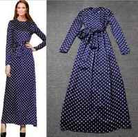 2015 hot-selling high-end European and American high waist dress Polka Dot