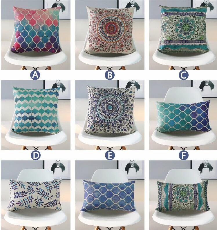 Home Decor Wholesales Ikea Vintage Cotton Linen Cushion Cover 45cm*45cm Vintage Leaves Floral Geometric Pattern Pillow Case(China (Mainland))