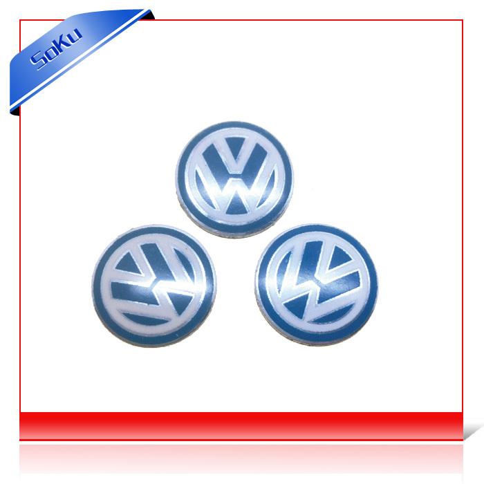 50pcs/lot cheap car sticker volkswagen emblems vw FREE ship FOB metal logo for vw remote control(China (Mainland))