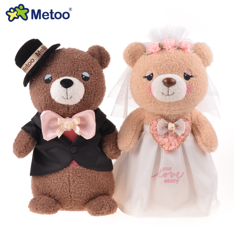 Free shipping 28cm metoo wedding couple bear plush toy doll wedding gift Presses 2 pcs/lot(China (Mainland))