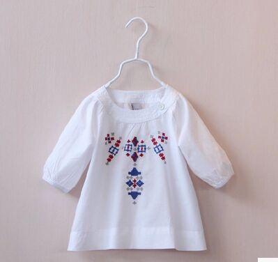 Блузка для девочек White blouse 2015 o embroidered