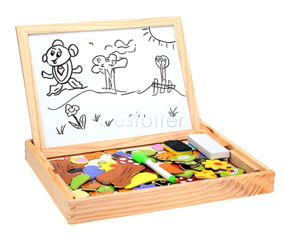 Hot Sale ! 2015 Baby Kids Educational Toys Wood Magnetic Puzzle Toys Drawing Board Jigsaw Blackboard 30(China (Mainland))
