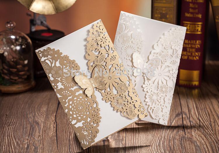 Clássico corte a laser borboleta bonita do cartão do convite projeto para o casamento festa de natal aniversário cerimônia evento 50 jogos/lote(China (Mainland))