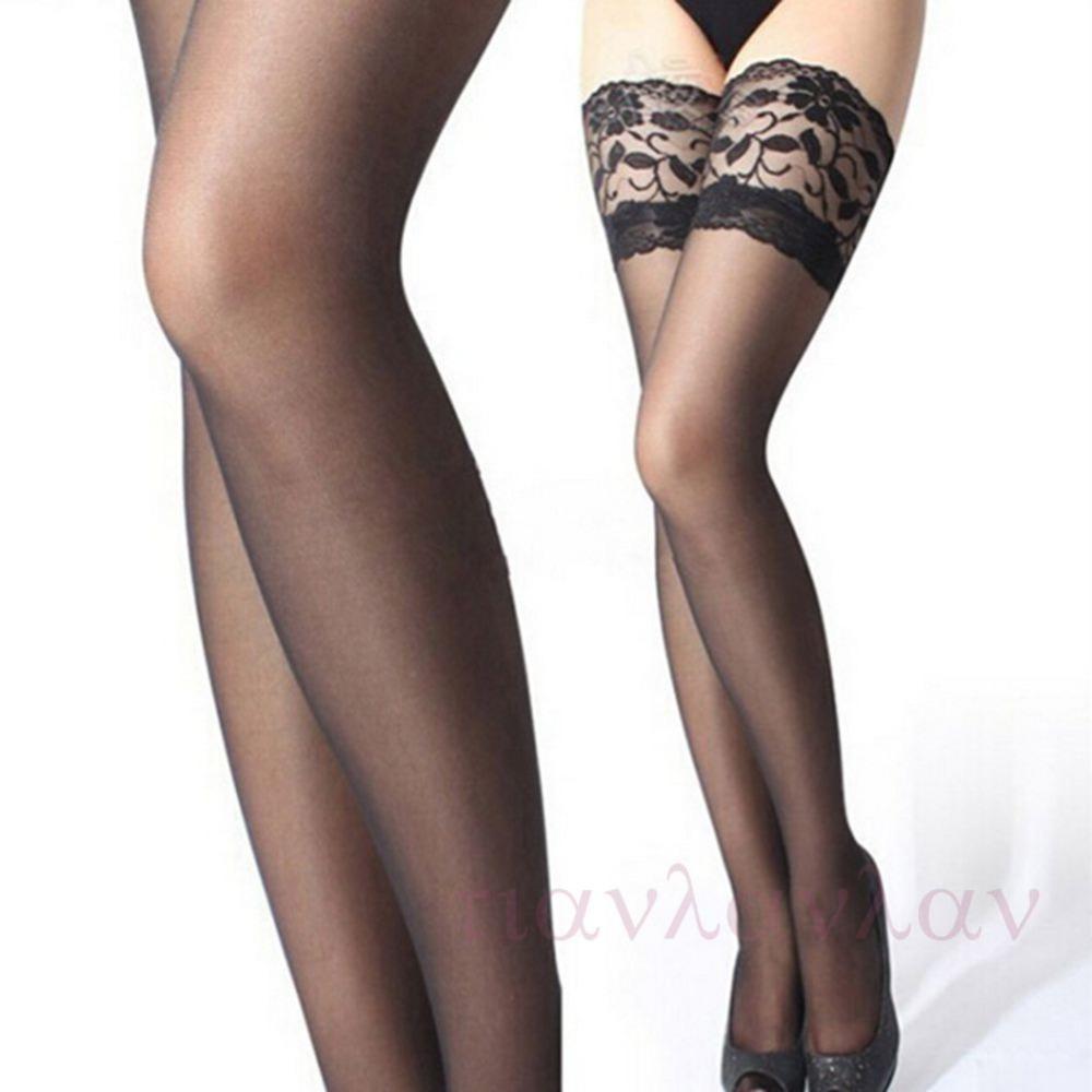 Новый 1 пара мода сексуальная ультратонкий кружева топ бедренной кости высокие шелковые чулки с 6 цветов