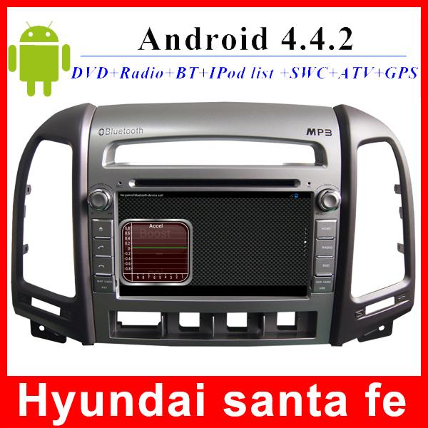 Prue Android 4.4 2 din Hyundai Santa fe dvd gps wifi radio BT USB SD OBD TV 3G WIFI 7 inch touch screen car multimedia player(China (Mainland))