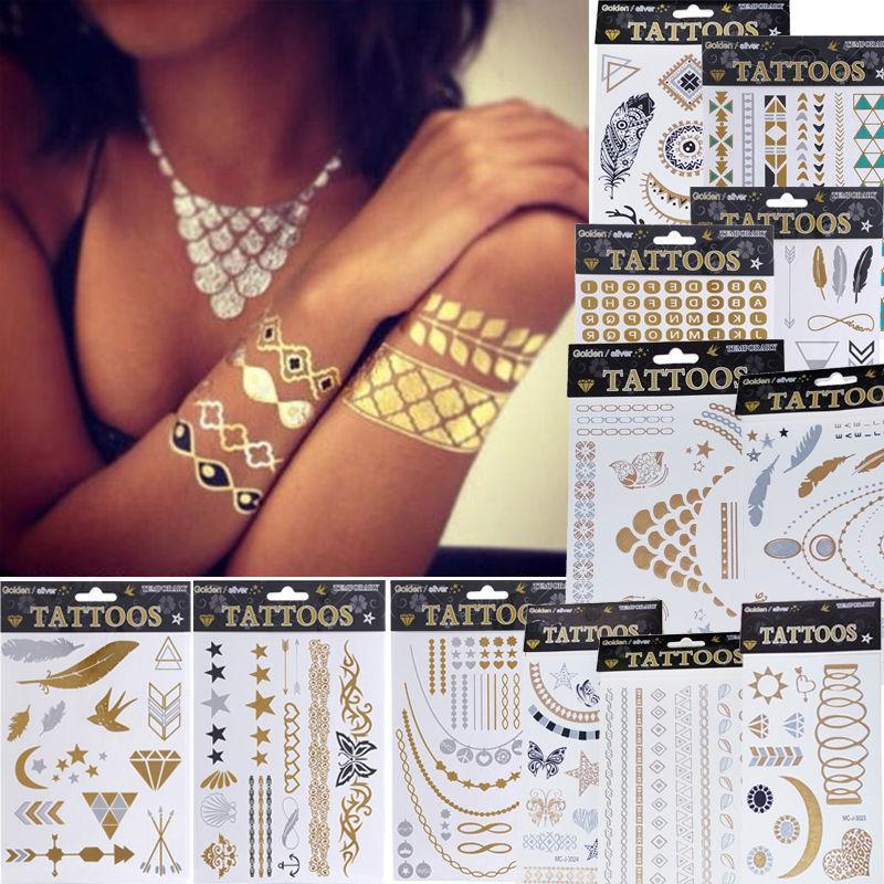 1 x Fashion Jewelry Metallic Gold Silver Temporary Tattoos Jewelry Flash Body Bling 12 Styles MK0163(China (Mainland))
