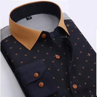 Free shipping 2015 New Fashion Style Polka Dot Men Shirts Long Sleeve Cotton Shirt plus size