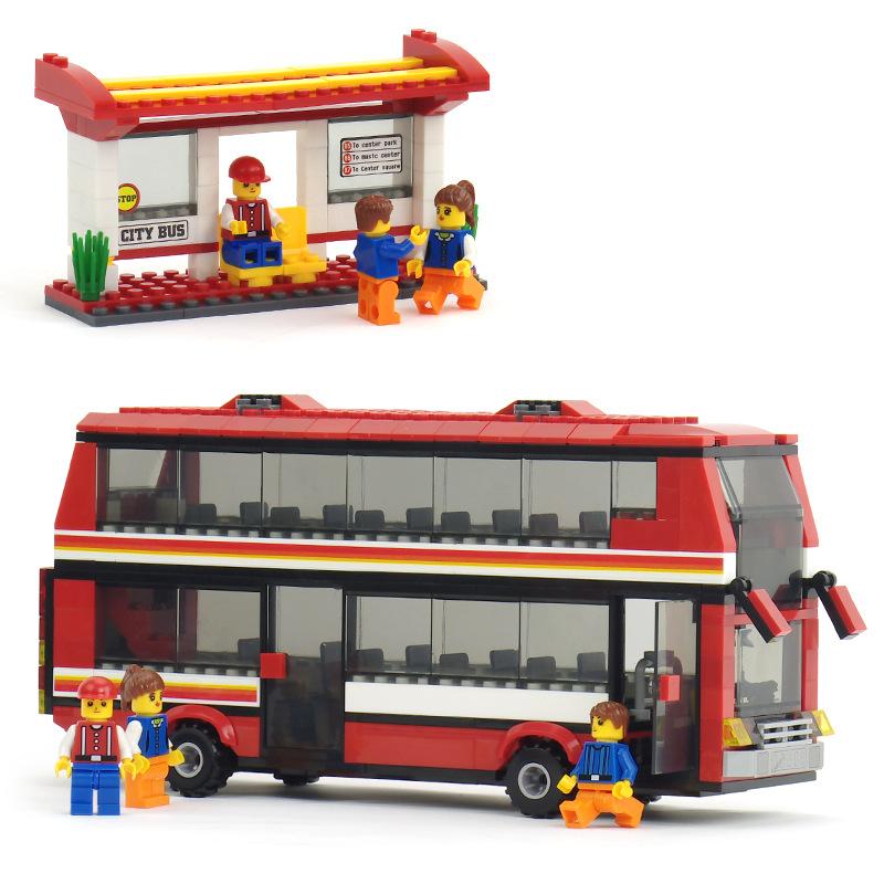 Inteligente broca decker cidade ônibus de dois andares Wan formato de plástico kits de construção para montar building block toy 20117(China (Mainland))