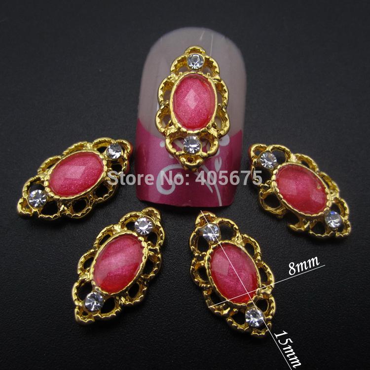 50pcs Pink resin nail stone glitter nail jewelry 3d nail art tools beauty nail salon accessories YNS060(China (Mainland))