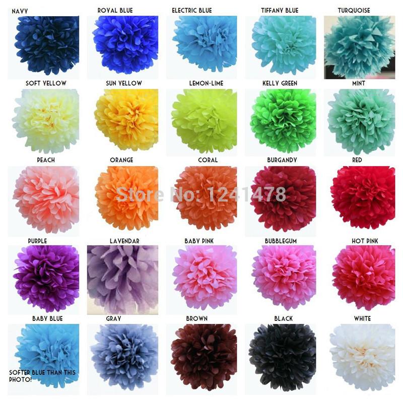 "24 Colors as chart !! Paper pom poms flowers balls garlands 6""(15cm) 100pcs/lot party tissue pompom wedding decorations(China (Mainland))"