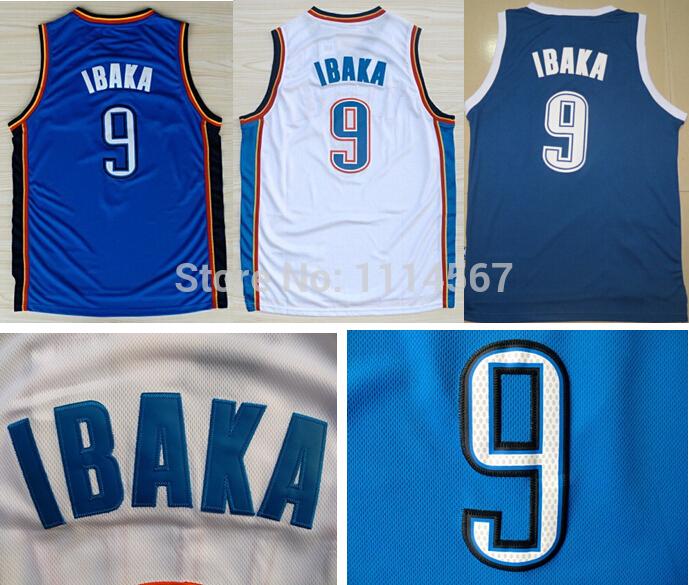 High Quality Oklahoma City #9 Serge Ibaka Jersey Home Away Blue White Dark Basketball Jerseys Sports Shirt Accept Drop Shipping(China (Mainland))
