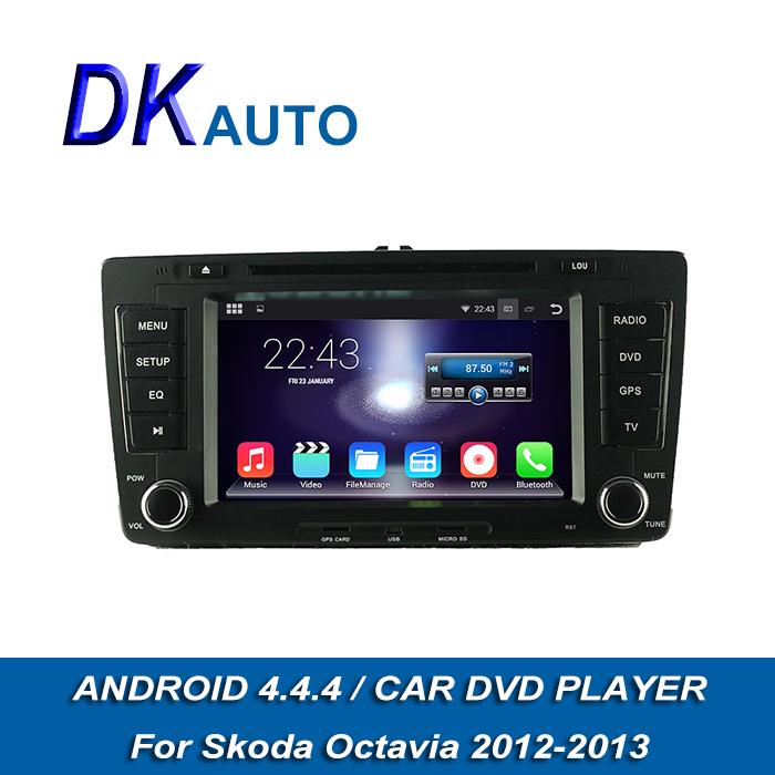 "Car DVD Player For Skoda Octavia 2012 2013 Pure Android 4.4.4 2 Din 7"" Touch Screen 8G Car Audio GPS Navi BT DVBT Music WIFI DVR(China (Mainland))"