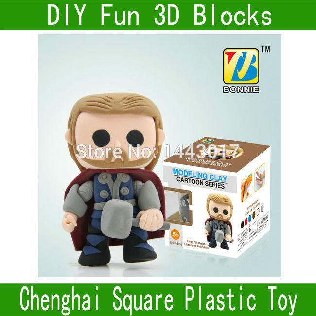 Bonnie Super Hero DIY Fun 3D Modelling Polymer Clay Plasticine Play Dough BN9989-3(China (Mainland))