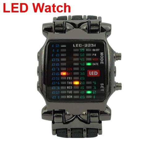 TVG Brand Fashion Matrix Super Cool 21 Colorful LED Digital Binary Wrist Watches Military Mens Wristwatches men full steel watch(China (Mainland))