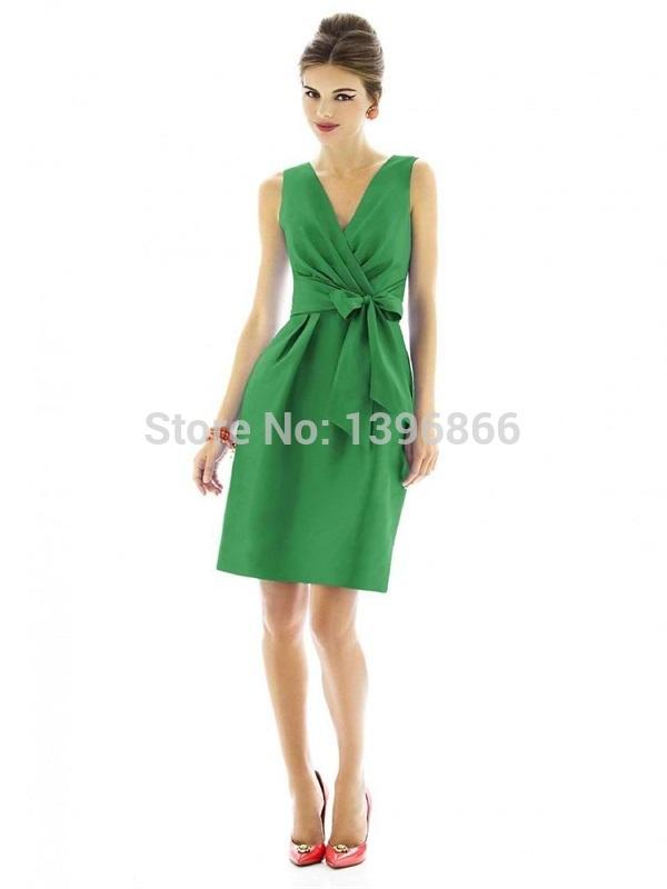 Fashion Design Emerald Green Bridesmaid Dress 2015 V Neck Cap Sleeve A Line Short Party Dress Satin Mini Vestido De Festa AB723(China (Mainland))