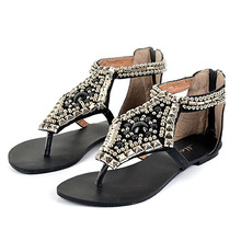 Wearproof Skidproof Vintage Women Sandals Summer Sandal Lady's Beading Slippers Flip Flops Female Sandalias Women Shoes flats(China (Mainland))
