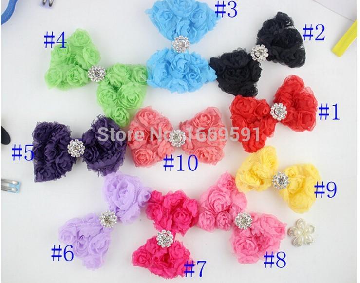 "Rhinestone Hair bow 3.8"" shabby chiffon Rosette bows chiffon baby hair bows kids accessories 60pcs/10color free shipping(China (Mainland))"