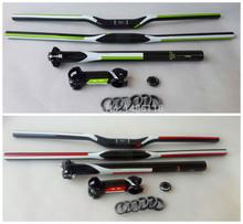 Fast shipping new green carbon MTB handlebar bicycle seatpost stem top cap gasket / lightweight mountain bike handlebar set