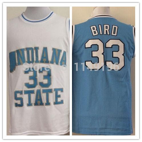 Indiana State Sycamores Larry Bird Jersey Bird NCAA College Basketball Jerseys Blue White(China (Mainland))