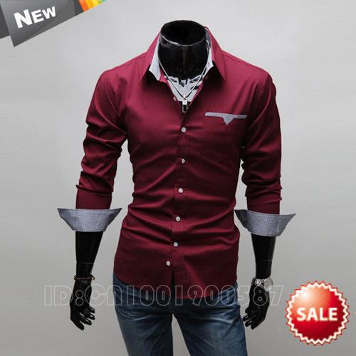 M-xxxl 2015 moda Mens camisas de vestido manga comprida Slim Fit Casual Shirt Chemise Homme Camisa Masculina Social , Camisa dos homens(China (Mainland))