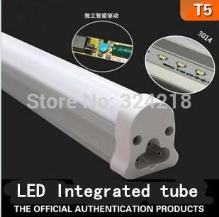 Free shipping 5W Led T5 Tube Light super brightness SM3014 500lm 0.3m integrated fluorescent ballast warm/cold white AC85-260V(China (Mainland))