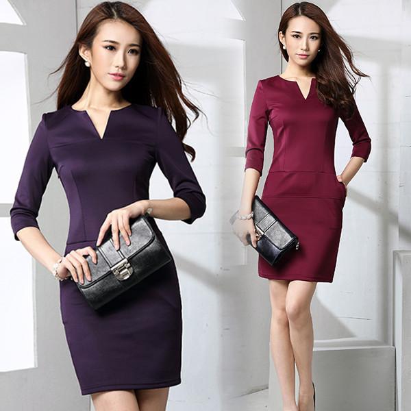 New women's Korean primer seven Quarter Sleeve V collar slim black skinny OL dress(China (Mainland))