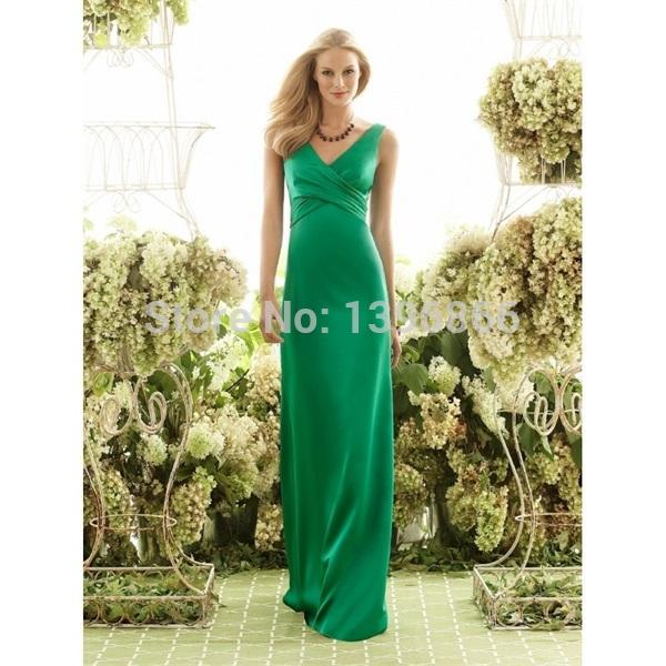 Fashion Design Elegant Emerald Green Bridesmaid Dress 2015 V Neck Sexy Low Back Party Dress A Line Satin Vestido De Festa AB711(China (Mainland))