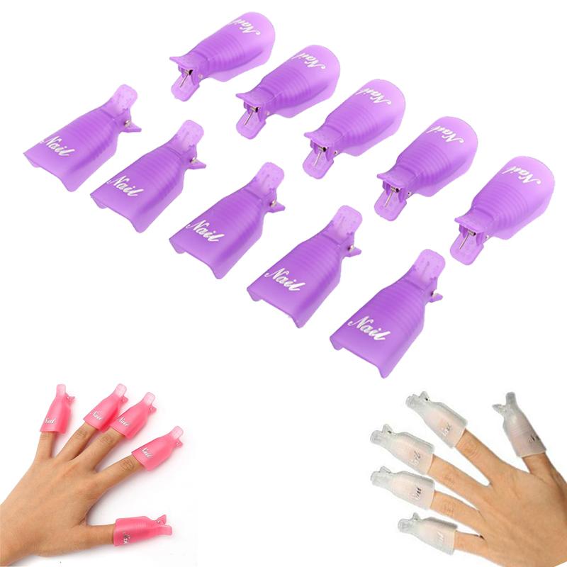 Selljimshop New 10PC Plastic Nail Art Soak Off Cap Clip UV Gel Polish Remover Wrap Tool(China (Mainland))